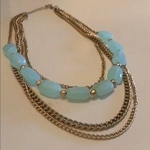 Gold and mint layered chain necklace